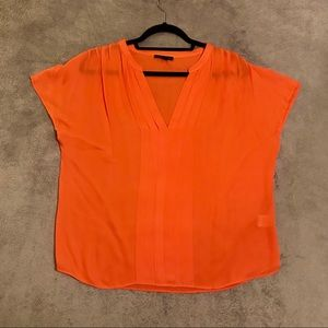 Anthro Coral Silk Blouse - Medium